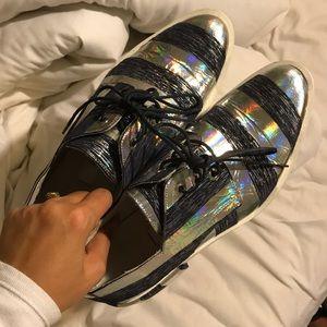 Miista hologram silver stripe oxford sneakers 36